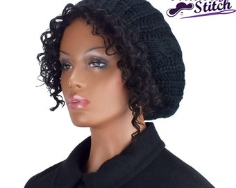 Satin Lined Knit Hat Black with Black Lining, Knit Beanie, Slouch Cap, Gifts for Her