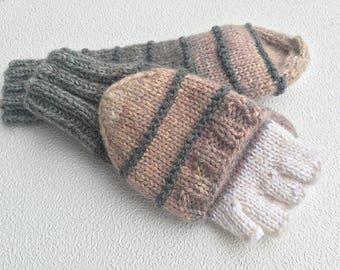 Beige convertible mittens/ gray convertible mittens/ finger flip mittens/ flip top gloves/ arm warmers/ glittens