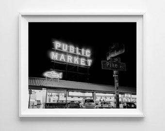 Seattle Photography Pike Place Market - Black and White Photography, Urban Art, City Art - Small and Oversized Art Prints Available