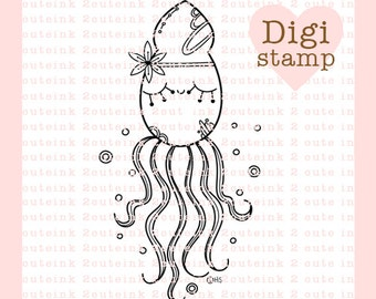 Squid Doodle Digital Stamp for Everyday, Birthday, Kids or Friends for Card Making and Crafts