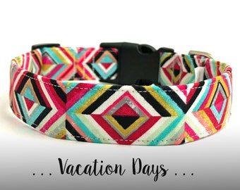 Colorful Dog Collar; Aqua, Hot Pink, Black Dog Collar: Vacation Days (Collar Only)