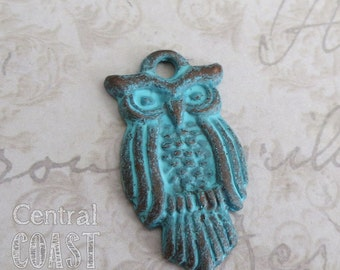 Owl Charm Pendant - 29mm x 15mm - 2 charms - Mykonos Greek Casting - Copper with Green Verdigris Patina - Central Coast Charms