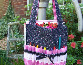 Childs Crayon Tote Bag pdf pattern or Bible cover, easy sewing pattern,SALE with Immediate Download