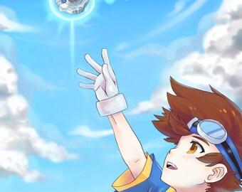 Taichi Digimon Adventure | digivice, affiche digimon, digimon impression, digimon art, affiche anime, anime impression, impression du jeu vidéo, tai