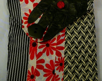 Cross Body Clutch,Boho Wallet,Handbag,Whats Black And White and Red All Over,Recycled ArtWear,Summertime Flower Power,Daisys,He Loves Me,Art