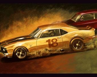 1967 Yellow Camaro Classic American Muscle Car 16x24 Metallic Print