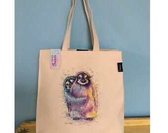 Large Tote Bag ' Peep Po Penguins ' Print By Sophie Appleton Watercolour Artist , Shopping Bag , Beach Bag