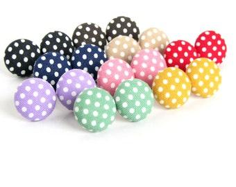 Polka dots fabric earrings - polka dot button earrings - tiny stud earrings - under 10 - pin up vintage cute