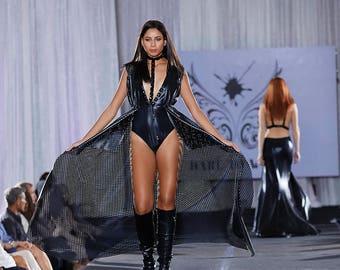 Black Leather Evening Gown/ Black Leather Vest/ Dresses for Women/ Formal Evening Dress/ Leather Maxi Dress/ Goth Black Dress/ Evening Gown