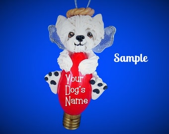 Westie West Highland White Terrier Angel Dog Christmas Light Bulb Ornament Sally's Bits of Clay PERSONALIZED FREE with dog's name
