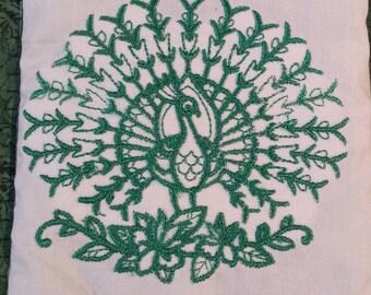 Embroidered Peacock Mug Rug single