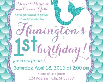 ON SALE Mermaid Birthday Invitation Mermaid Party Invite Under the sea mermaid glitter