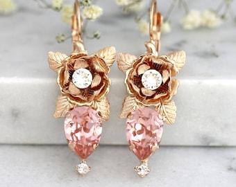 Rose Gold Earrings, Blush Earrings, Bridal Bohemian Earrings, Flower Gold Earrings, Bridesmaids Earrings, Bridal Swarovski Blush Earrings