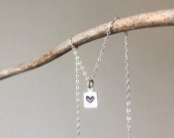 Stamped Sterling Silver Heart Necklace/ Gift for Mom/ Customizable Sterling Stamped Necklace/ Stamped Sterling Heart Pendant