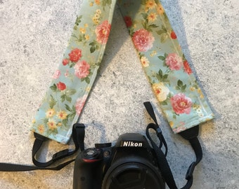 Vintage Flowers - Camera Strap Cover, Nikon, Canon, dslr Photography, Photographer Gift