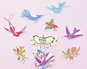 SALE - Bird Sticker Pack -Set of 7 - Vinyl Stickers - Hand Drawn Sticker - Handmade Sticker - Bird Sticker