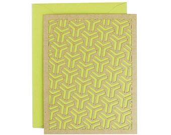Blank Card - Kiwi Geometric Laser Cut Card