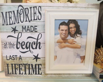 "Wood Beach Frame, ""Memories Made at the Beach Last a Lifetime"", Beach House Decor, Family Beach Frame, Beach Wedding Frame"