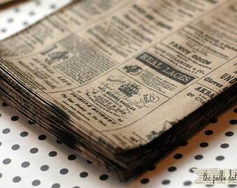 Newsprint paper bags - 25 kraft newsprint paper bags - 6x9 set of 25 - Newsprint kraft bags - Newsprint merchandise bags - Vintage Newspaper