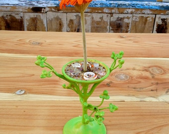 Green Jewelry Tree Stand-Holds Bracelets and Rings-Small Display Tree Stand-Up Cycled Jewelry Holder-Painted Metal Tree-Neon Green