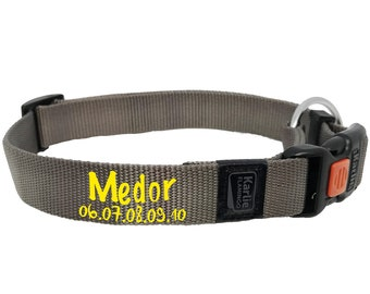 Gray personalized dog collar