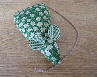 Catnip Mouse/ Mice Cat Toy Handmade Green Flower Print