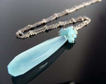 Blue Chalcedony Sterling Silver Cluster Necklace