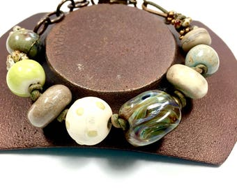Closeout SALE, Shades of Green, Artisan Crafted Boho Bracelet, Chunky Bracelet, Originally sold for 58