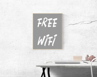 WiFi grey print, Grey WiFi Wall art, Grey White Print, Download Print, Instant download, Printable Art, Grey Wall Decor, WiFi digital print