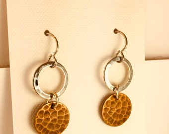 Silver Hoops with Antique Brass Drops