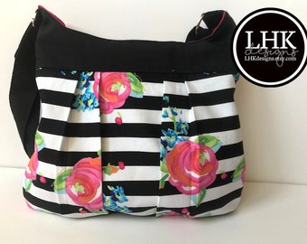 Black and pink floral striped pleated crossbody bag purse tote bag with pink lining