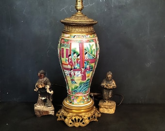 Antique Canton Enamel Table Lamp Mounted In Chinoiserie Taste . Vintage Chinoiserie  Lamp