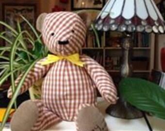 Personalised Brown Gingham Teddy Bear