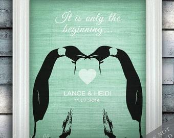 Penguin Couple Wedding Love - Custom Date Name Print - Personalized Wedding Gift - Bridal Shower Gift - Unframed