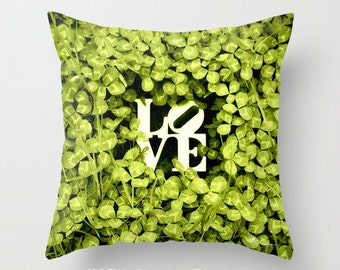 "LOVE - Yellow Green CLOVER 16x16"" Pillow Cover. Photo Art. Romantic. Woodland. Spring. Nature. Summer. Wedding. Anniversary. Home Decor. Fun"