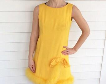 60s Yellow Mini Dress Chick Sleeveless Bow Mod Retro Vintage XS
