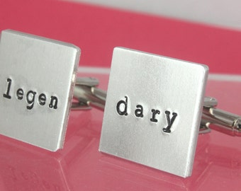 Legendary Cufflinks - Custom Cufflinks - Square Cuff Links - Legen Dary Cuff Links - Gift For Dad - Gift For Father - Silver Cufflinks