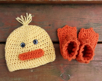 Duck Beanie, Duck Beanie and Booties, Crochet Baby Hat, Photo Prop
