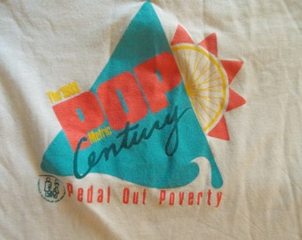 VINTAGE Pedal Out Poverty POP Metric Century Pace 1988 Bicycle Shirt XL