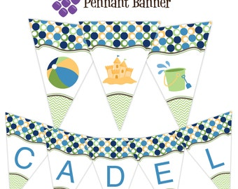 Beach Pennant Banner - Lime Green Chevron and Navy Blue Polk Dots Sandcastle Personalized Birthday Party Banner - A Digital Printable File