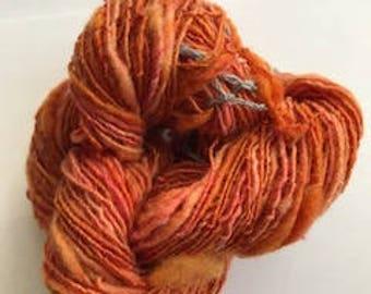 Pumpkin Spice Handspun, Hand dyed yarn