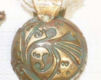 Faux Copper Deco Art Domed Pendant Necklace 17331 OOAK