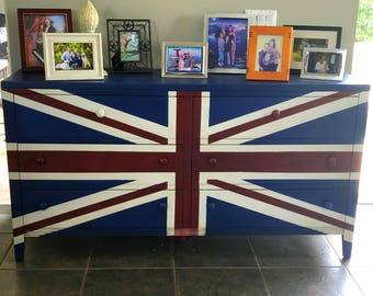 Hand Painted Union Jack Dresser