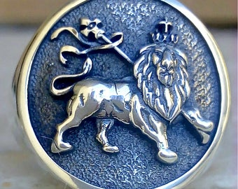 Lion Of Judah Jewish tribe Handmade 3D Ring Solid Sterling Silver 925