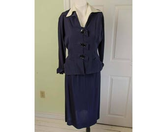 Vintage 1940's Woman's Dark Blue Suit Peplum Jacket