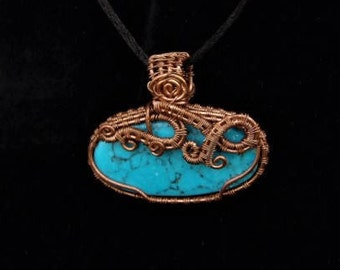 Turquoise Wire Wrapped  Pendant Necklace