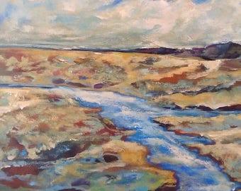 "River Runs Through It original painting 24""x30""x1.5"""