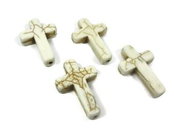 4 Large 30mm White Howlite Cross Beads