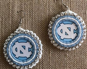 Carolina Tar Heels Bead Embroidered Earrings Native American  Free Shipping Available