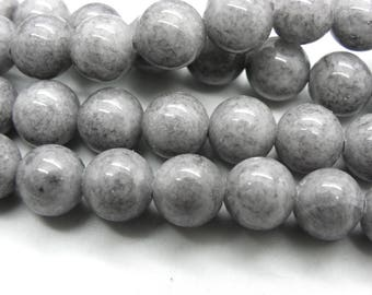52 jade 8 mm natural silver grey